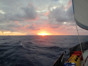 The sun set as we were passing St. Kitt's and Nevis.